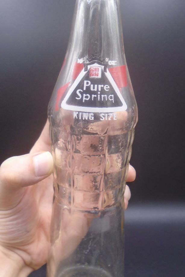 VINTAGE 1960's PURE SPRING (10 OZ.) ACL SODA POP BOTTLE