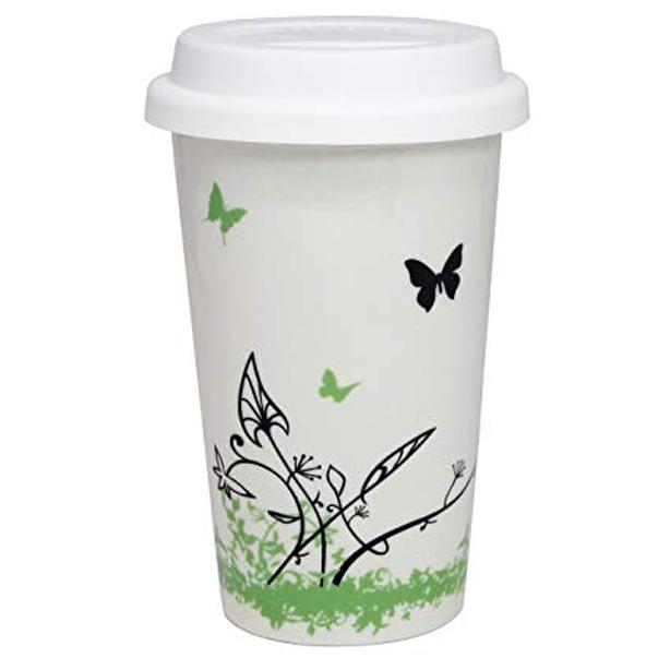 Porcelain Ceramic Travel Coffee Cup Mug with Lid - Butterfly