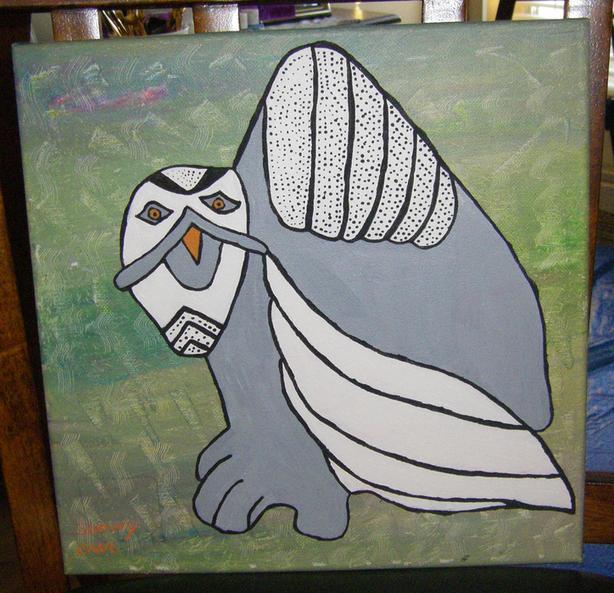 """Snowy Owl"".  12 x 12.  Acrylic."