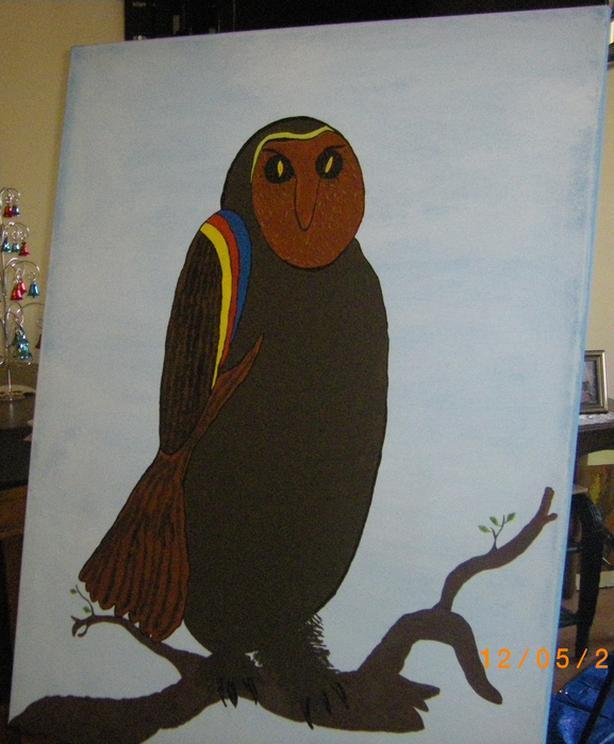 """Big Owl"".  27.5 x 35.  Acrylic."