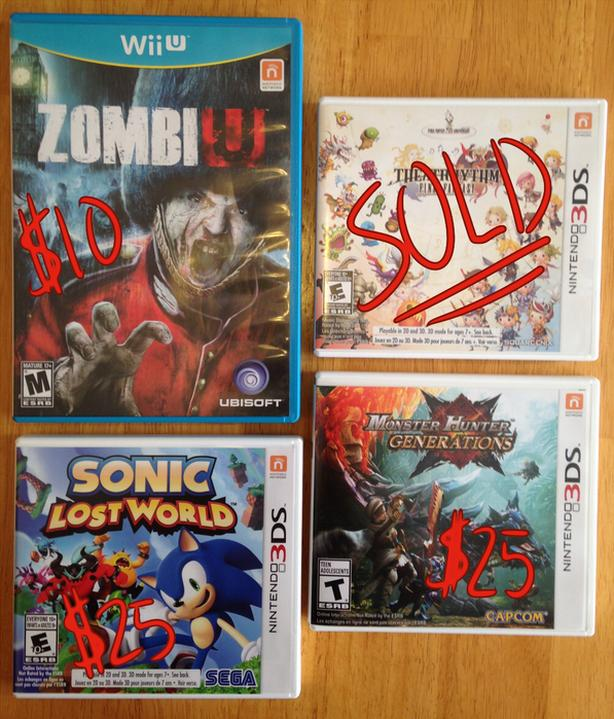 $25 - Nintendo Games (Wii U/3DS)