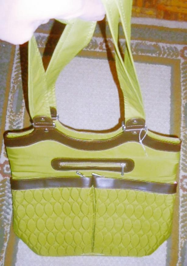 New Large Lug Shoulder Bag Tote - Green with Brown Leather Trim