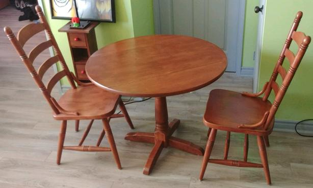 SOLID ASH wood drop leaf table and chair set