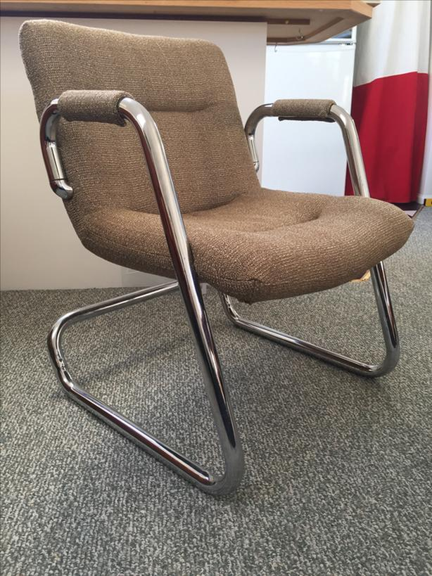 Mid-Century chair with bent chrome legs