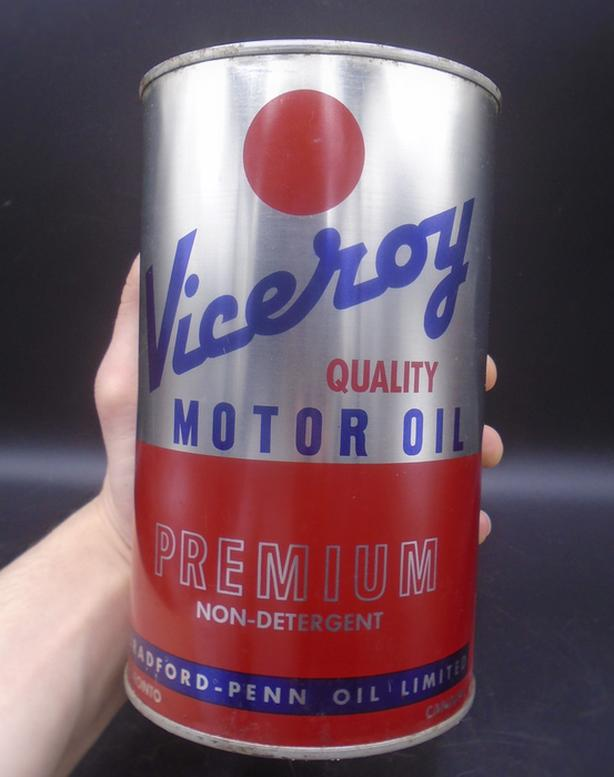 RARE 1960's VINTAGE VICEROY MOTOR OIL IMPERIAL QUART CAN TORONTO