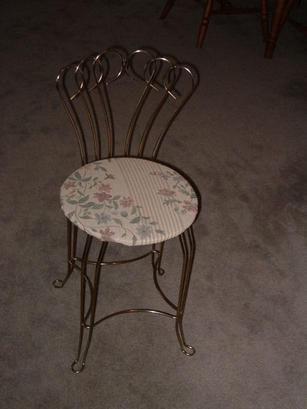 chair , retro, vintage , m c m rare metal vanity chair