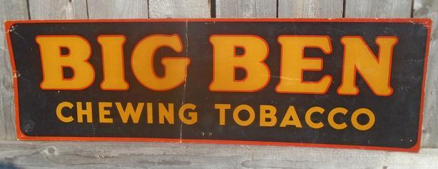 RARE 1930's VINTAGE BIG BEN CHEWING TOBACCO CARDBOARD SIGN