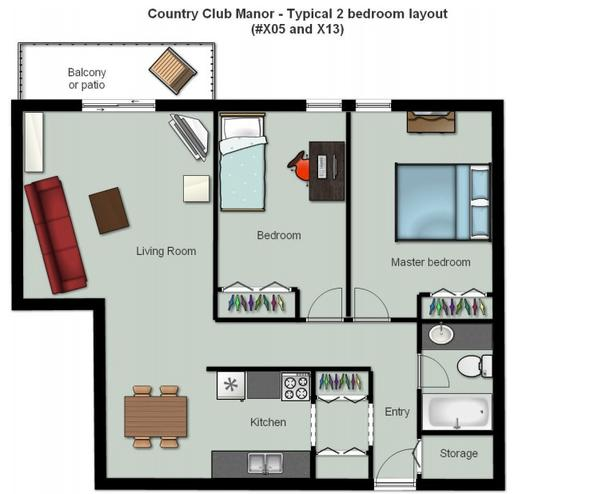 Top floor 2 bedroom apartment near Country Club Mall
