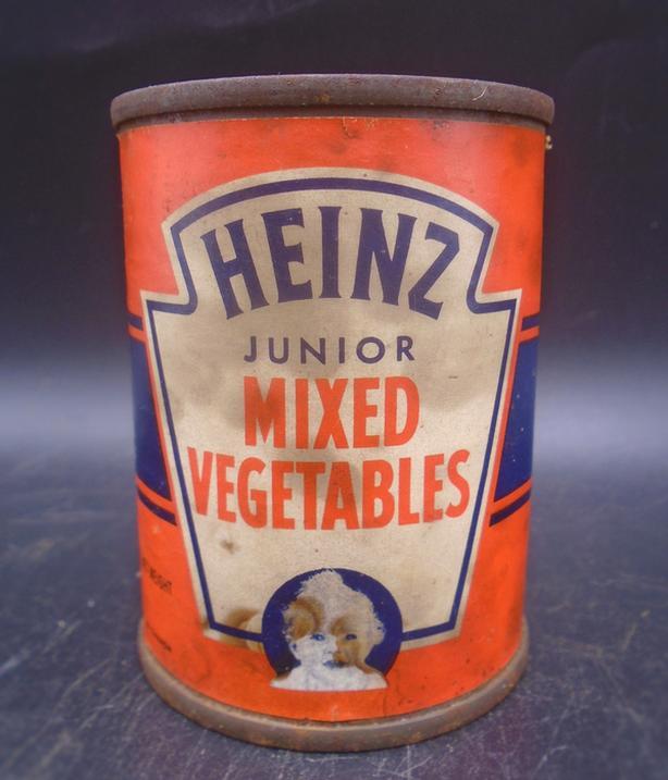 VINTAGE 1940s HEINZ JUNIOR MIXED VEGETABLES 4 OZ PAPER LABEL TIN