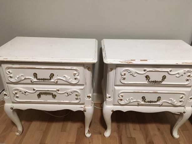 Antique French Provincial Bedside Tables and Highboy Dresser