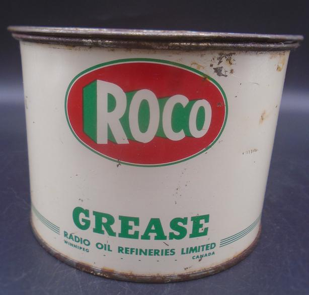 VINTAGE 1950's ROCO GREASE (1 LB.) CAN - RADIO OIL WINNIPEG, MAN