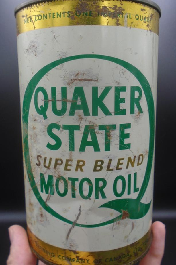 VINTAGE 1960's QUAKER STATE SUPER BLEND MOTOR OIL CAN