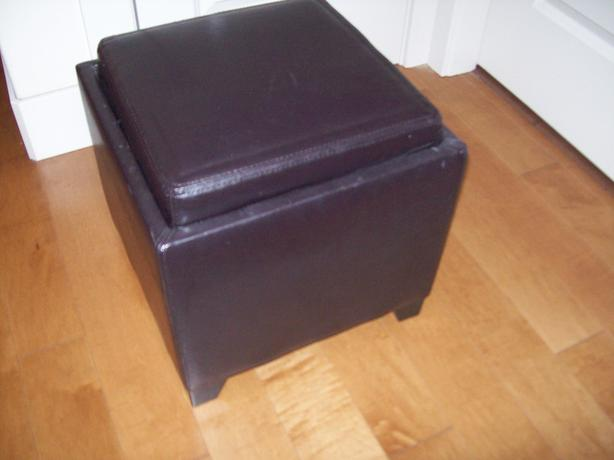 Brown Leather Ottoman ( 2 )