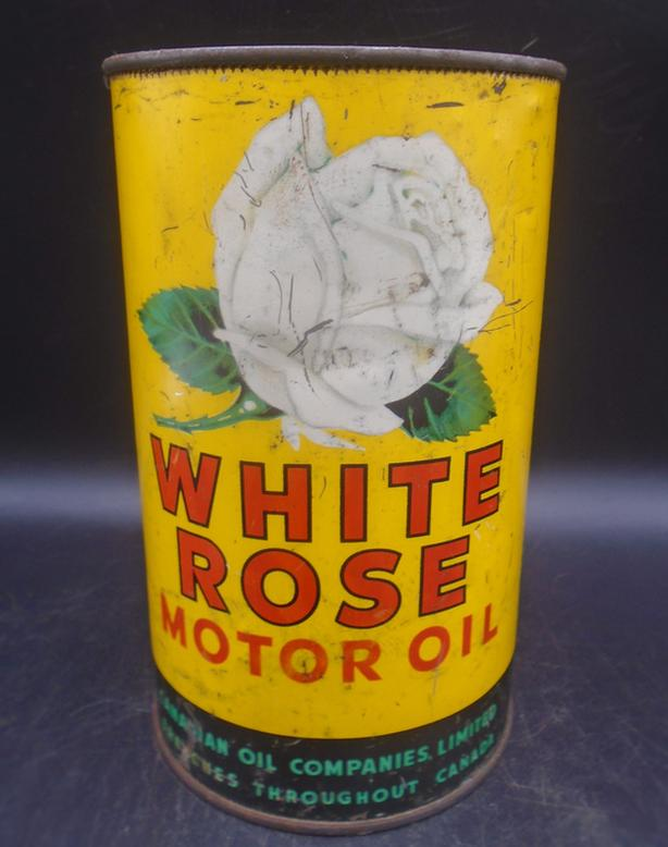 SCARCE 1940's VINTAGE WHITE ROSE MOTOR OIL IMPERIAL QUART CAN