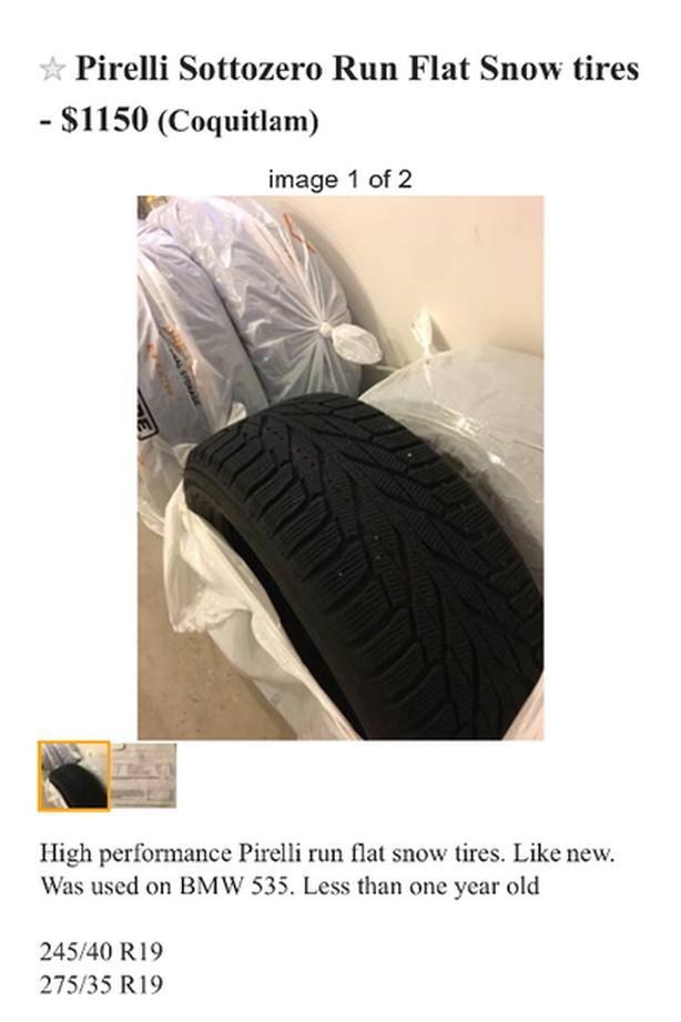 Pirelli Sottozero hi performance snow tires