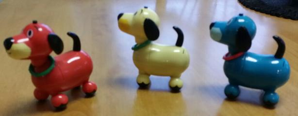 3 Vintage Walking barking Musical Dogs