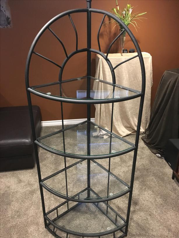 Corner glass shelving unit