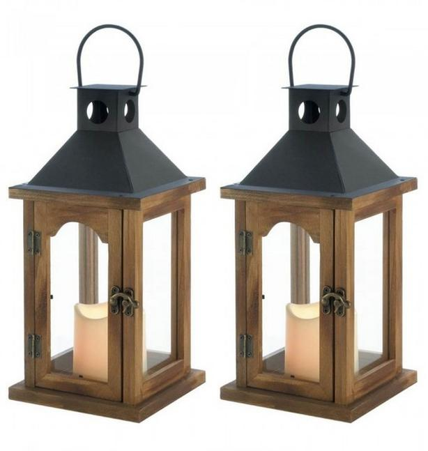"""Indoor Outdoor 12"""" Country Rustic Cottage Chic Wood LED Candle Lantern Set of 2"""
