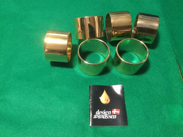 $25 · ASMUSSEN Pure 24 carat Gold Plated Napkin Rings - (6) DANISH