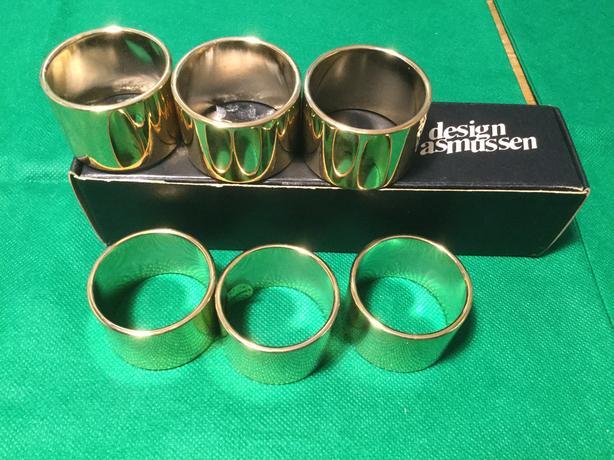 ASMUSSEN Pure 24 carat Gold Plated Napkin Rings - (6) DANISH