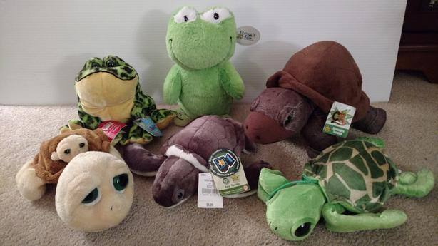 6 Assorted Plush Turtles/Frogs