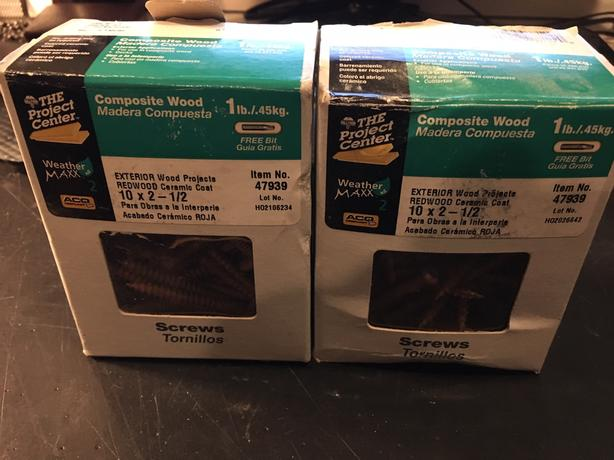 two boxes of composite wood screws 10 x 2 Redwood Ceramic