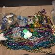 Large container Mardi Gras beads coins 22x15x6