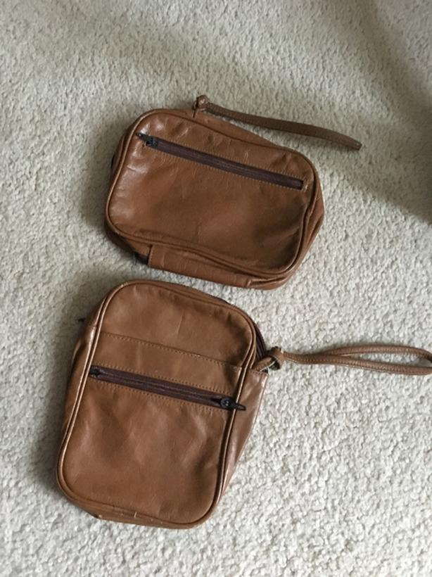 Pair of 100% leather passport & document holder wallets purse