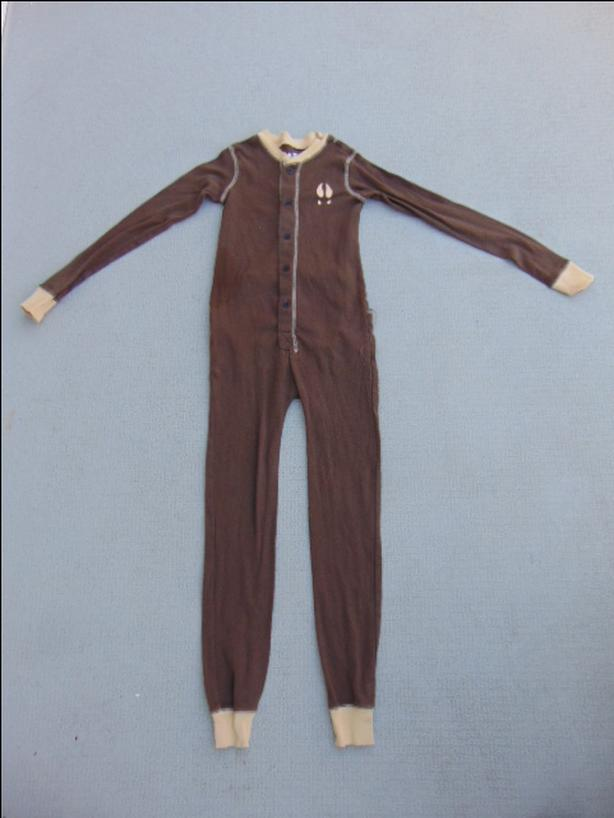 Pajama Child Size 6 Lazy One 1 pc Cotton Brown Moose Caboose on Bum Excellent