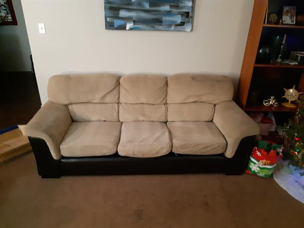 Peachy Log In Needed 50 Obo Microsuede And Faux Leather Couch Creativecarmelina Interior Chair Design Creativecarmelinacom