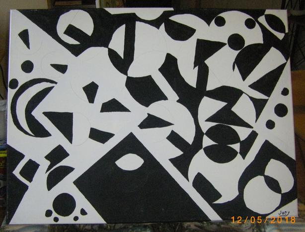 Black and White Abstract Acrylics, priced per each