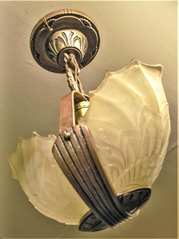 vintage deco slip shade light fixture