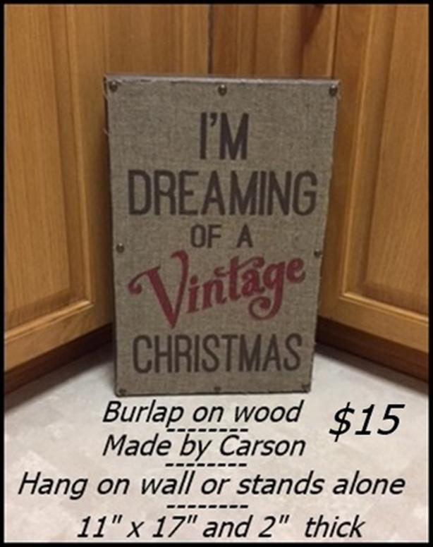 Christmas Sign $15 / Christmas Place Mats $10
