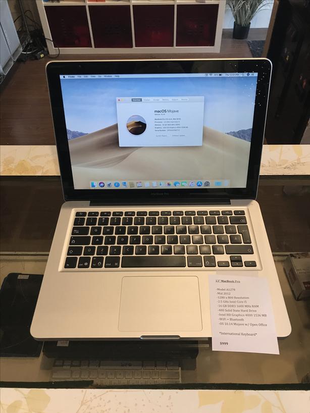 """13"""" MacBook Pro 2.5 GHz Intel Core i5 16 GB RAM 480 GB SSD w/ Warranty"""