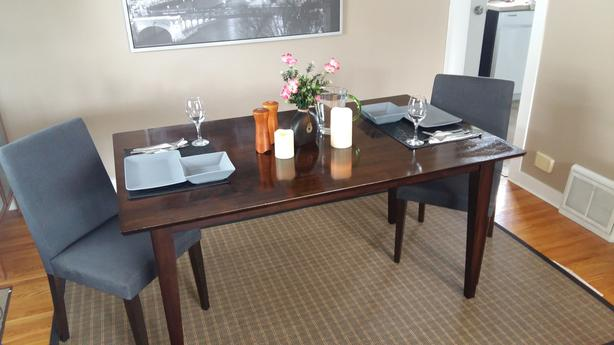 All-Wood 4-Seat Dining Table + 2 Parson Chairs