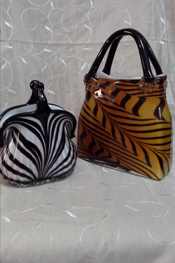 2 Vintage murano handblown glass purses
