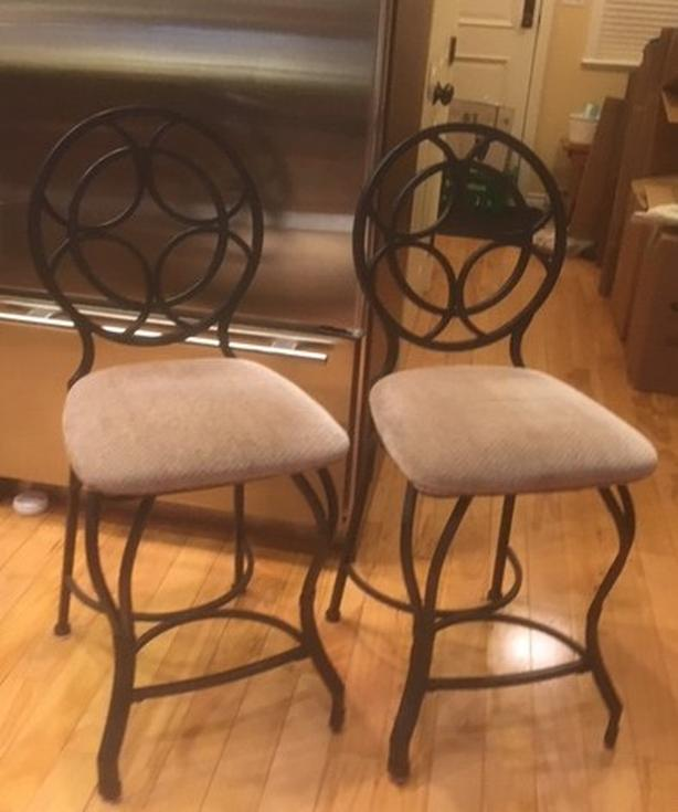 2 Bar Stools Black Wrought Iron Frame And Fabric Seats Victoria City