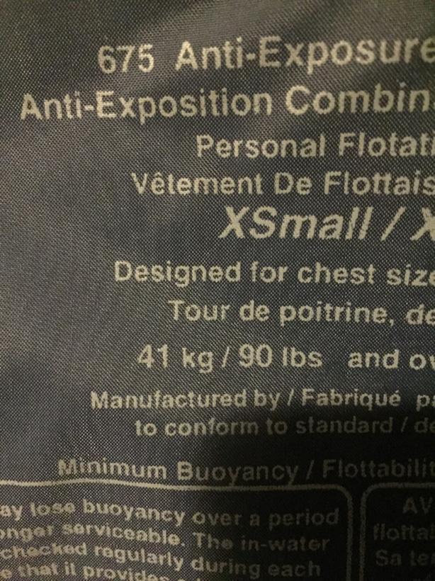 Buoy-O-Boy 675 Anti-Exposure Flotation Suit Sooke, Victoria