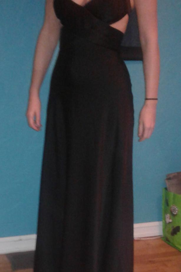 BGCBMaxAzria Black Satin Cutout Gown