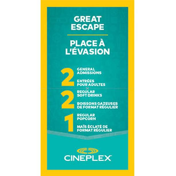 Cineplex Movie Pass for 2 Adults includes 2 Drinks & 1 Popcorn