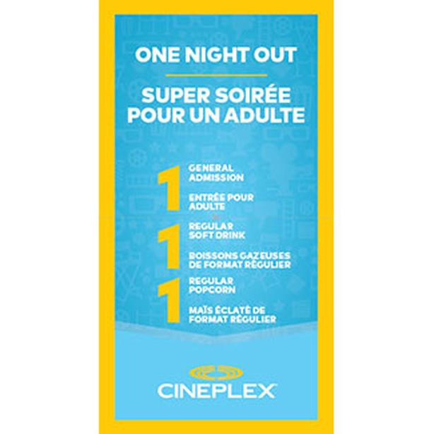 2 Cineplex Movie Pass FOR 1 Adult includes 1 Drink & 1 Popcorn