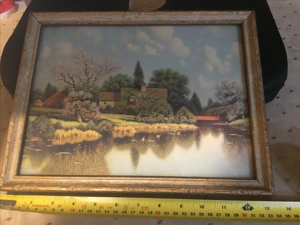 """Old Homestead in Blossom-time"" print signed George W. Drew"