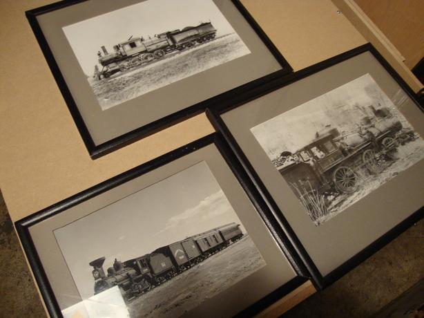 3 framed train photos