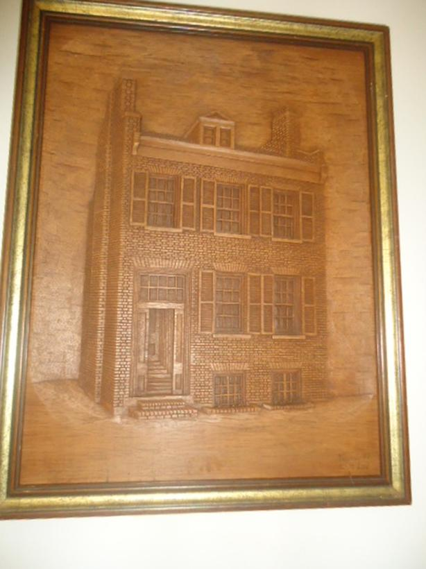 Hand Carved Wood Wall Art - 3 Story Building - Early 1900's