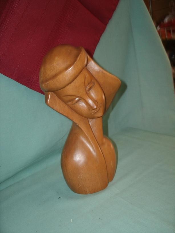 Wooden Women's Bust Sculpture