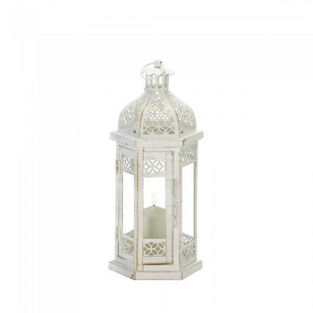 White Metal Candle Lantern Antique Finish Floral Cutwork Detailing 4 Lot