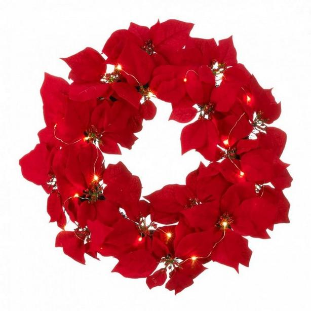 "20"" Light-Up Christmas Hanging Poinsettia Wreath Battery-Op Red Fabric 3 Lot NEW"