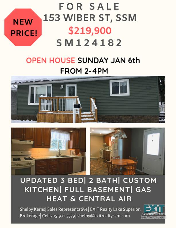 New Price & OPEN HOUSE Sun Jan 6th from 2-4pm- 153 Wiber St. SSM