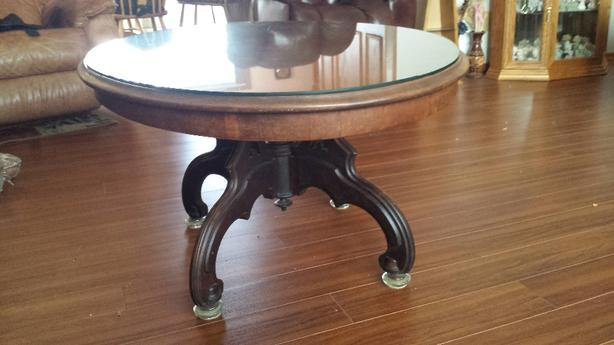 Antique unique oval coffee table