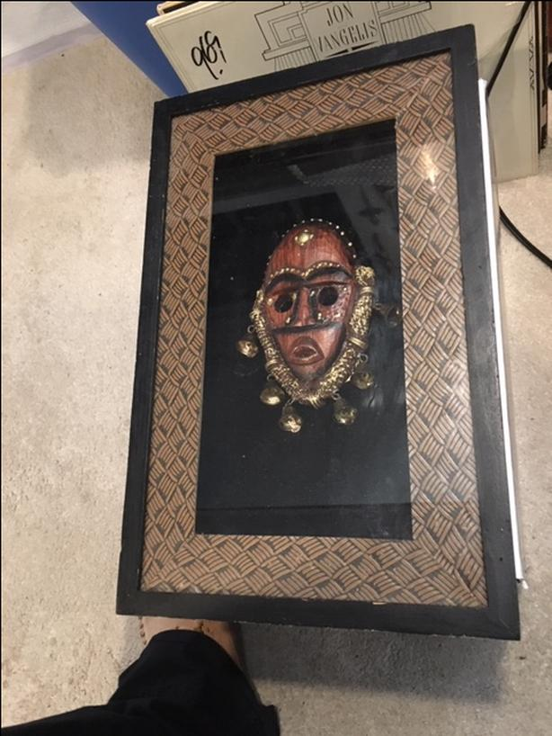 African art head in shadow box by Anister Gifts New York